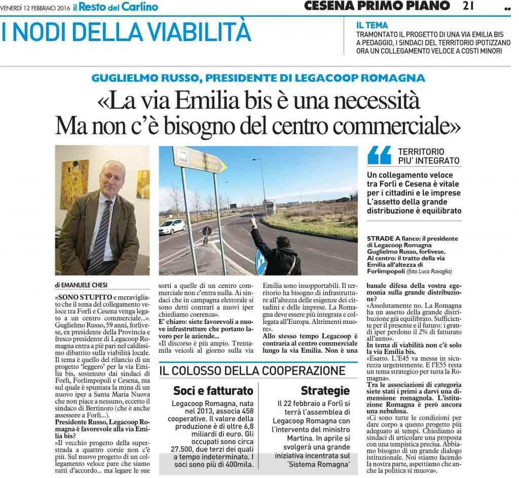 Legacoop Romagna: «La via Emilia bis è una necessità, ma non c'è bisogno del centro commerciale»