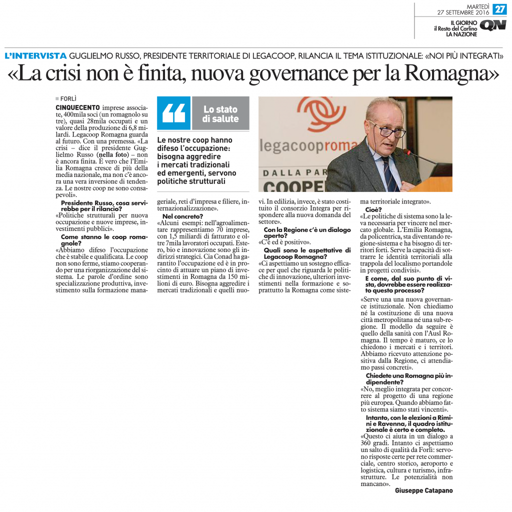 Il Resto del Carlino nazionale intervista il presidente di Legacoop Romagna