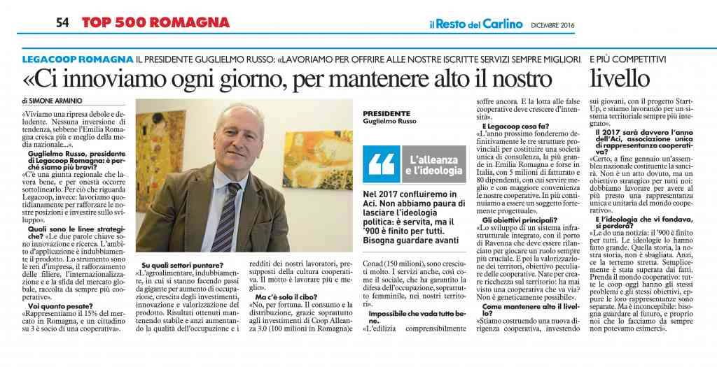 Guglielmo Russo intervistato dal Top 500 del Carlino