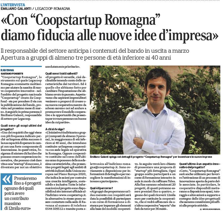 «Con Coopstartup Romagna diamo fiducia alle nuove idee di impresa»