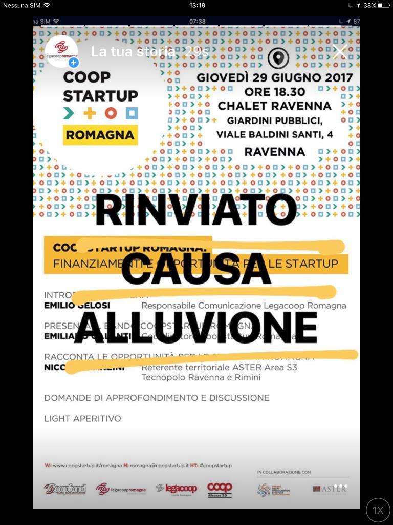 Rinviata l'iniziativa di Coopstartup allo Chalet di Ravenna