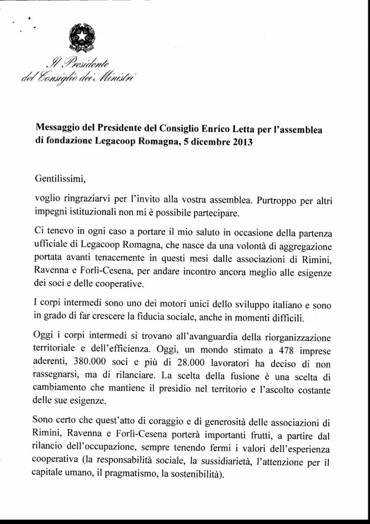 Il messaggio di Enrico Letta per la nascita di Legacoop Romagna