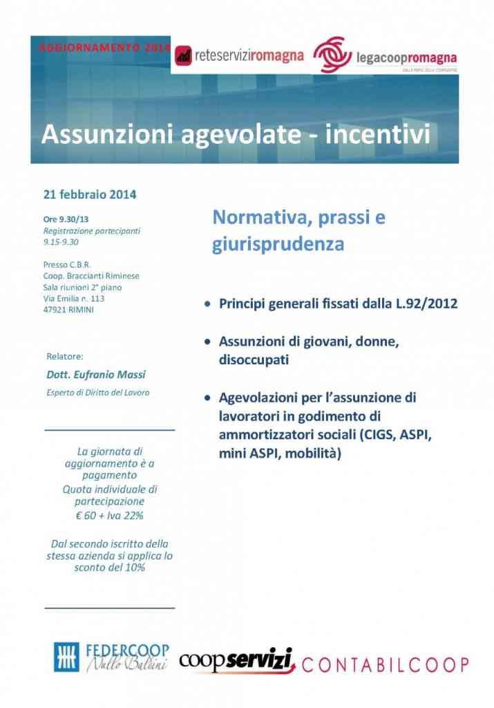 Il 21/2/2014 seminario su assunzioni agevolate e incentivi