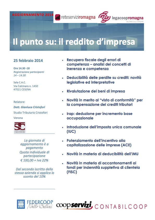 Incontro di aggiornamento su reddito d'impresa e legge di stabilità 2014