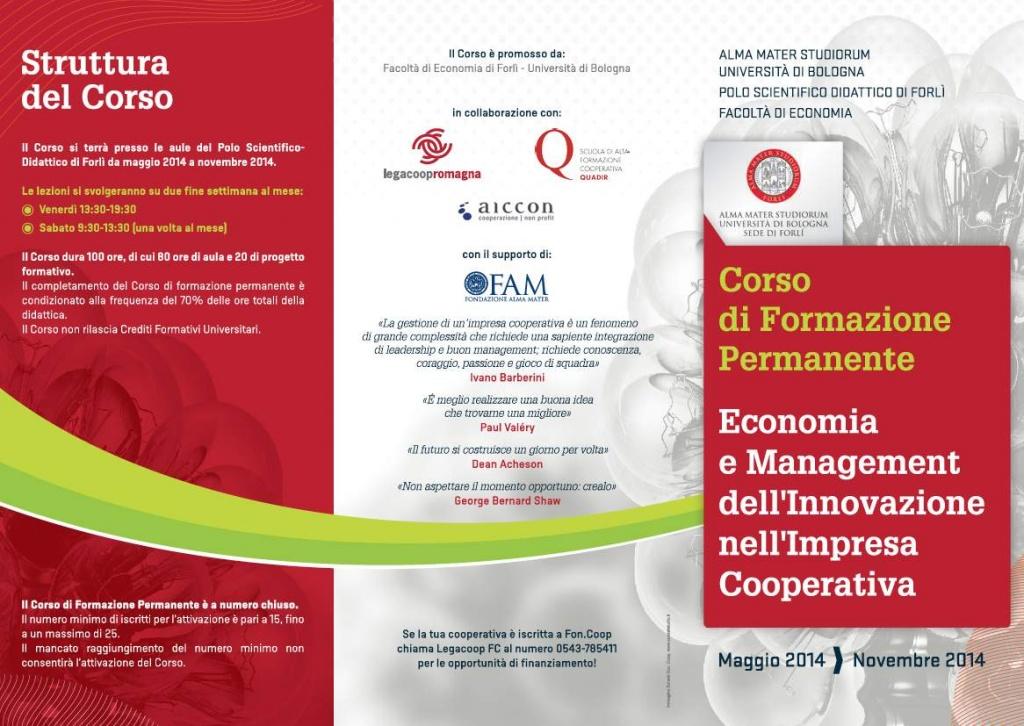 Corso di formazione permanente in Economia e Management dell'innovazione nell'impresa cooperativa