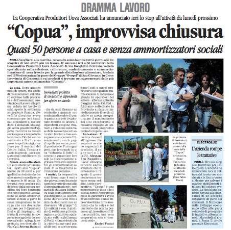 Caso Copua, forte presa di posizione unitaria delle Centrali Cooperative aderenti all'ACI