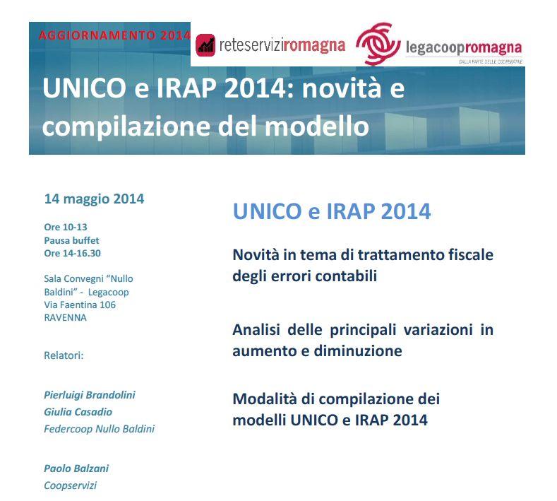 Mercoledì 14/5 formazione gratuita su UNICO e IRAP 2014 – novità e compilazione del modello