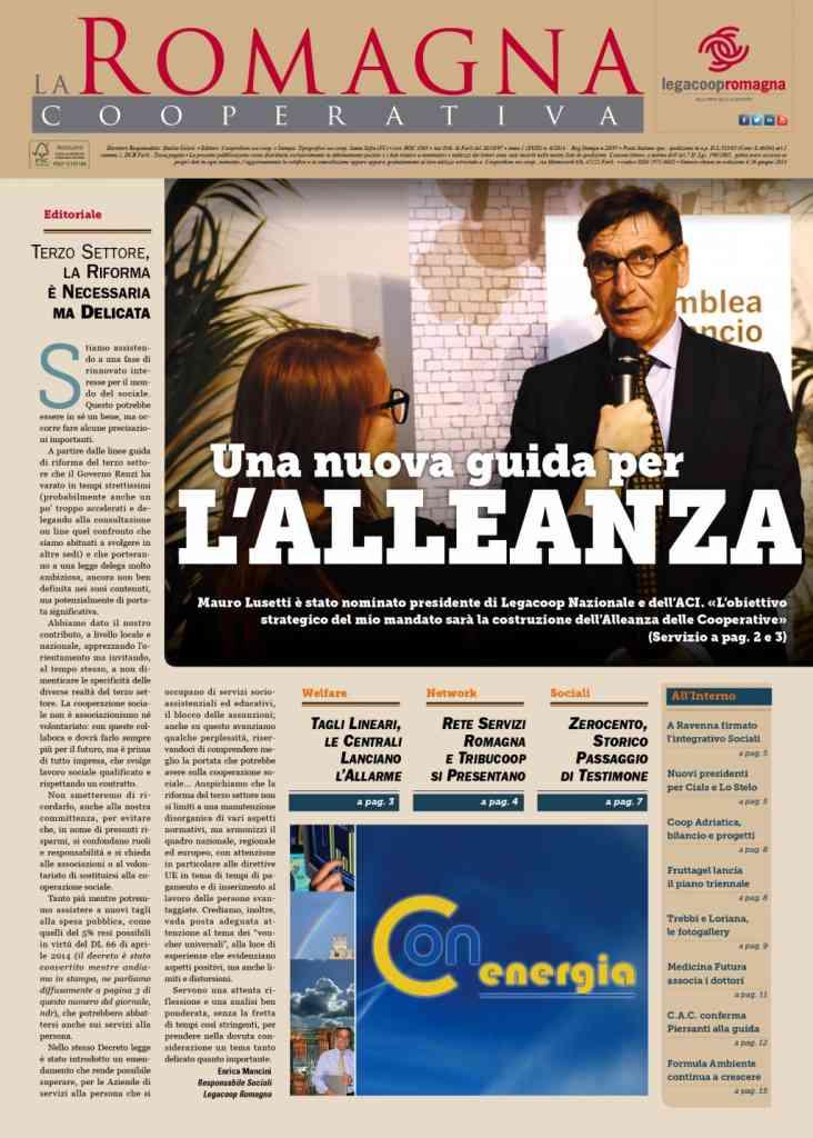 Il presidente di Legacoop nazionale Mauro Lusetti nel nuovo numero della Romagna Cooperativa