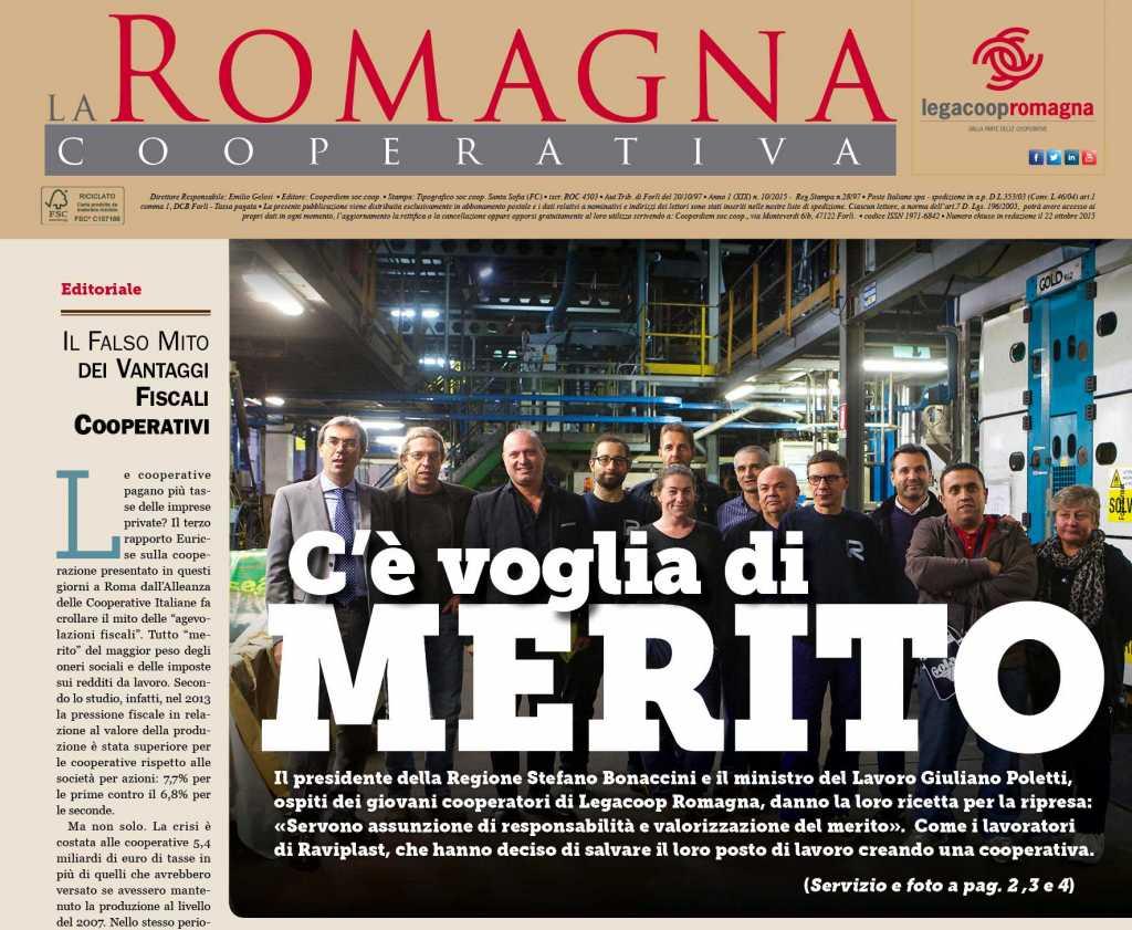 """""""C'è voglia di merito"""" – in anteprima il n.10/2015 della Romagna Cooperativa [pdf)"""