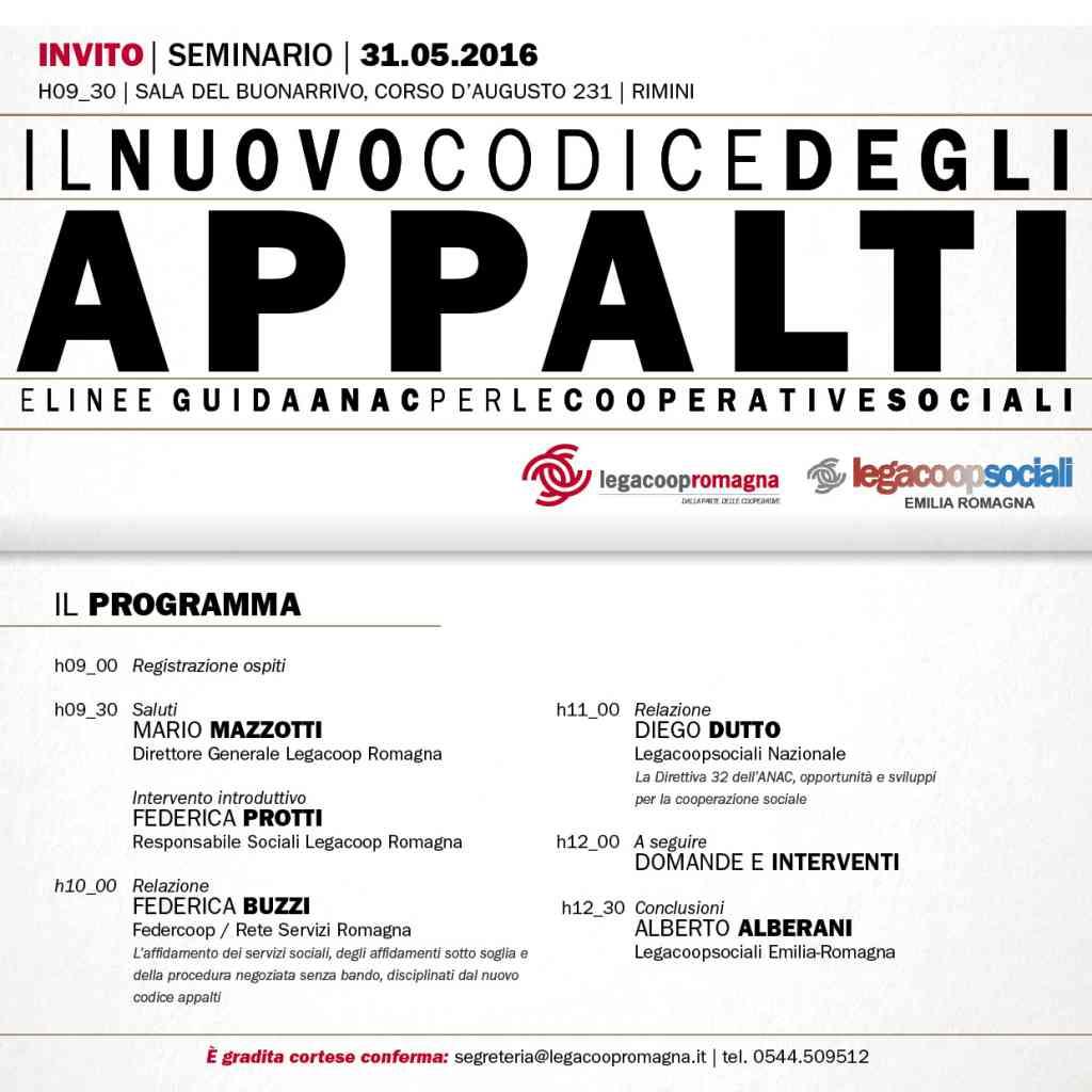 Nuovo codice degli appalti e linee guida ANAC per le cooperative sociali: il 31/5 seminario a Rimini