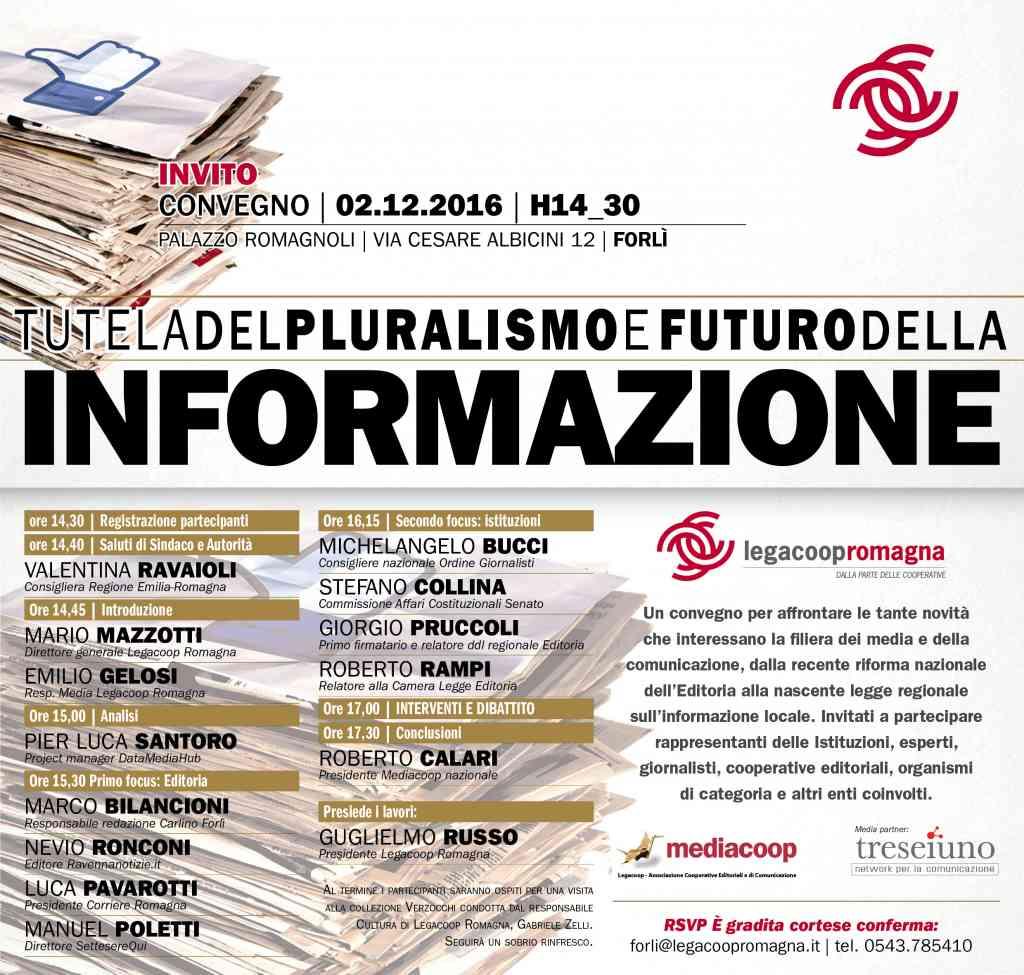 Il 2/12 a Forlì convegno su Tutela del pluralismo e futuro dell'informazione
