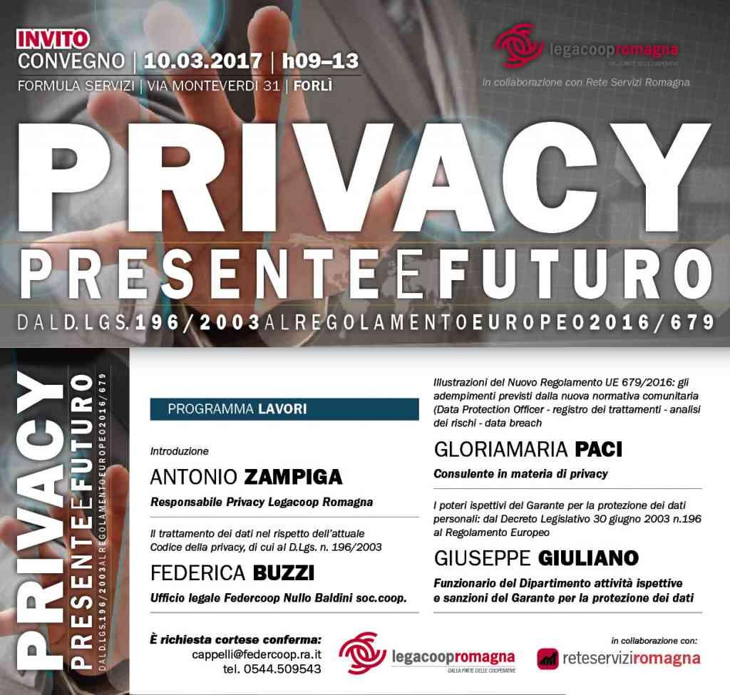 Venerdì 10/3 convegno su presente e futuro della Privacy