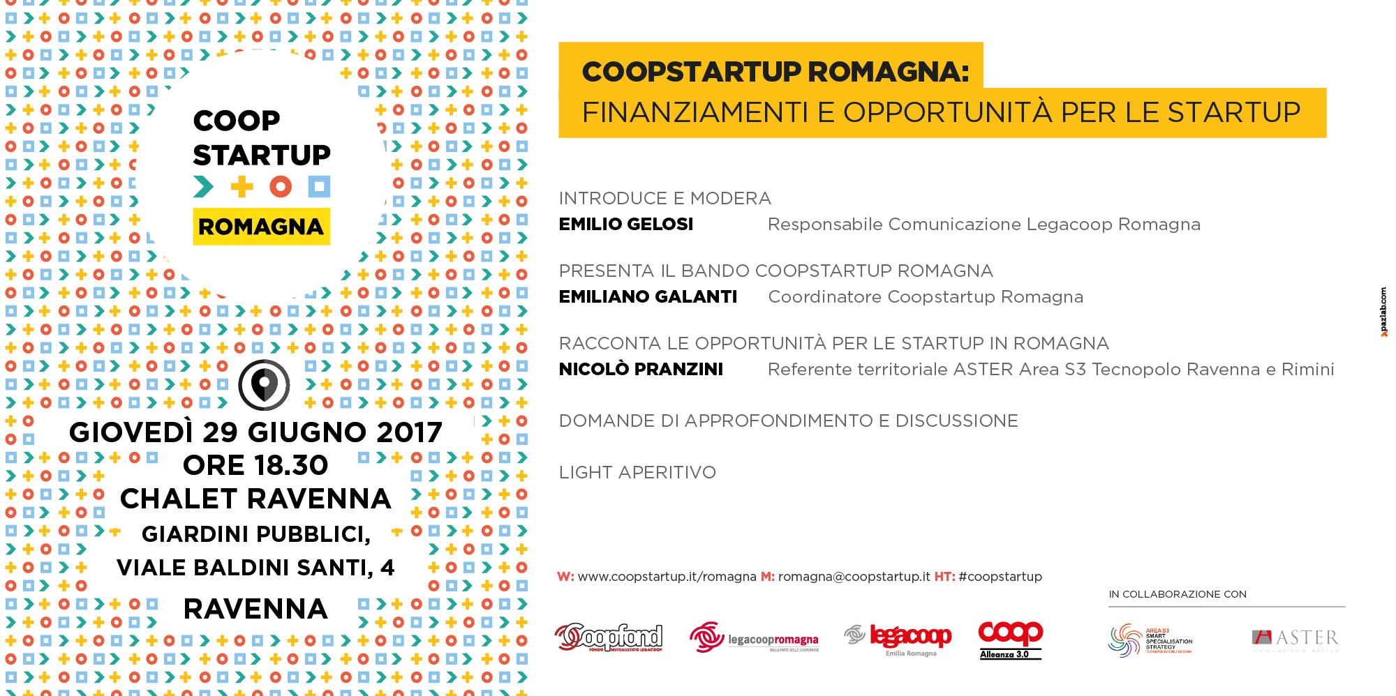 Coopstartup Romagna, finanziamenti e opportunità per le startup il 29/6 a Ravenna
