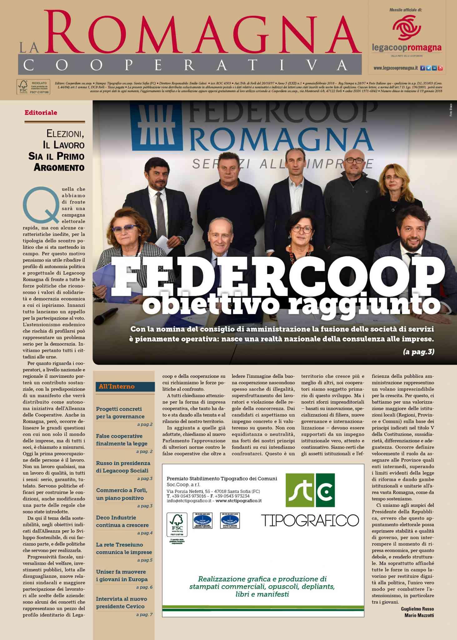 Federcoop, elezioni, governance – Il nuovo numero della Romagna Cooperativa