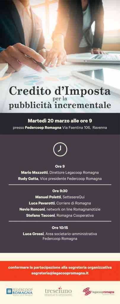 Credito di imposta e pubblicità incrementale, seminario il 20/3 a Ravenna