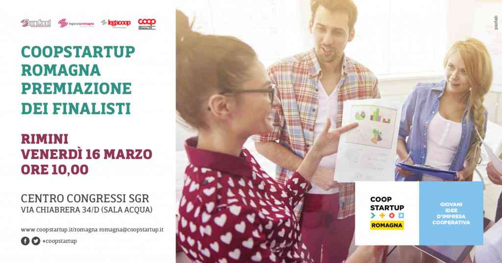 Venerdì 16 marzo a Rimini le premiazioni di Coopstartup Romagna