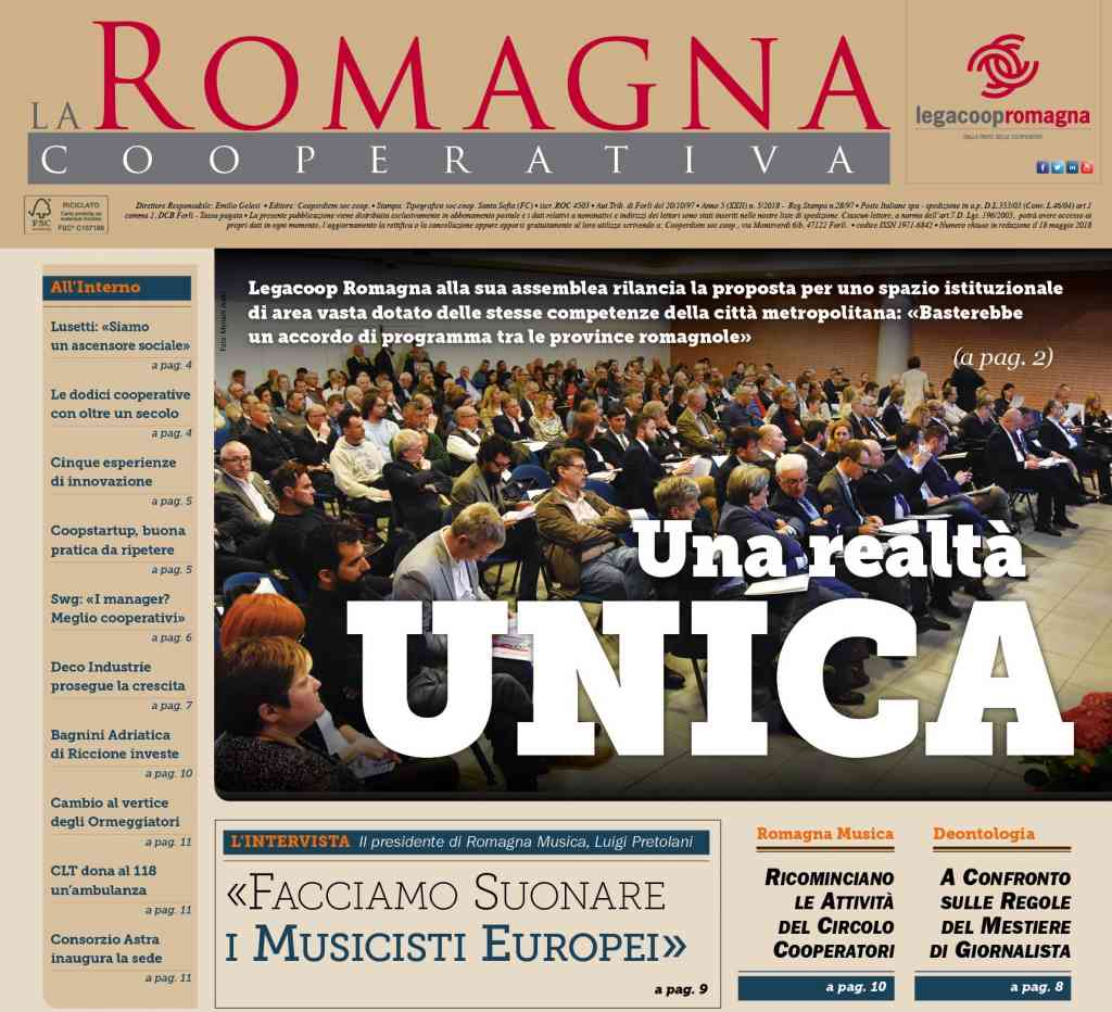 Una realtà unica – il n.5/2018 della Romagna Cooperativa in anteprima