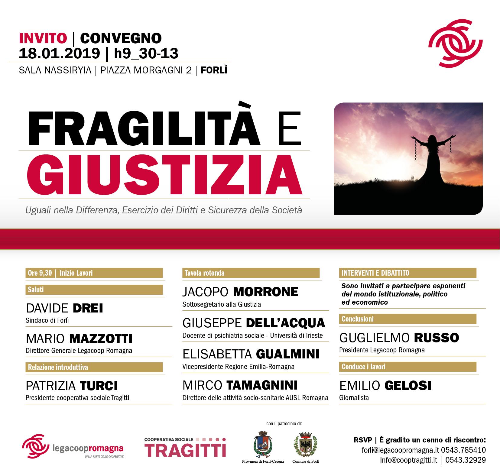 Fragilità e Giustizia, venerdì 18 gennaio convegno a Forlì