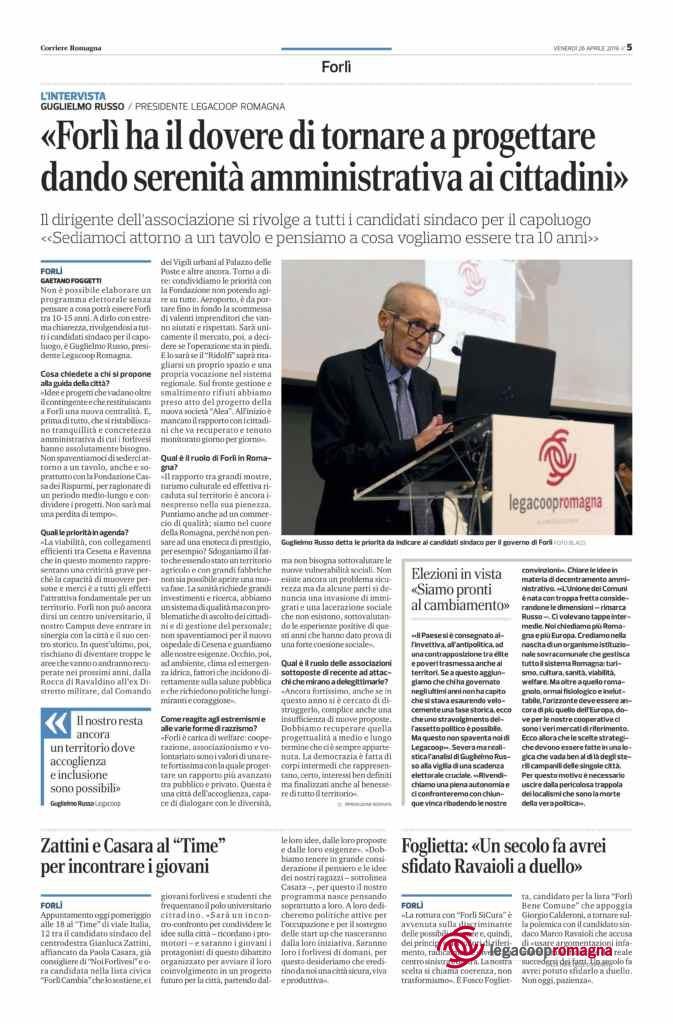 Guglielmo Russo intervistato dal Corriere di Forlì sulle elezioni amministrative